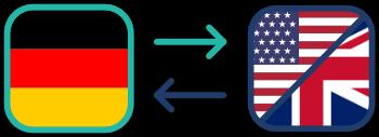 Deutsche Flagge und Britische/US-Amerikanische Flagge verbunden durch Pfeile stellen eine Übersetzung dar