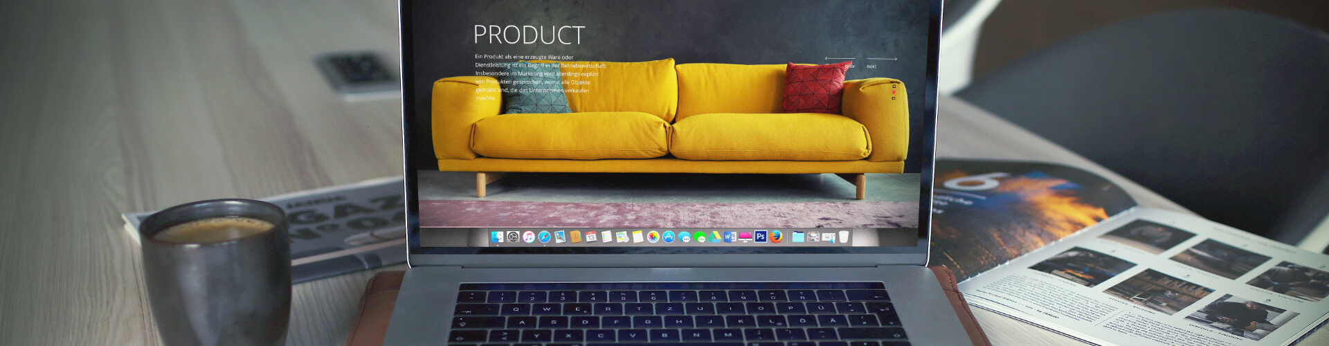 A product website that was translated into German using a website translation can be seen on a laptop.