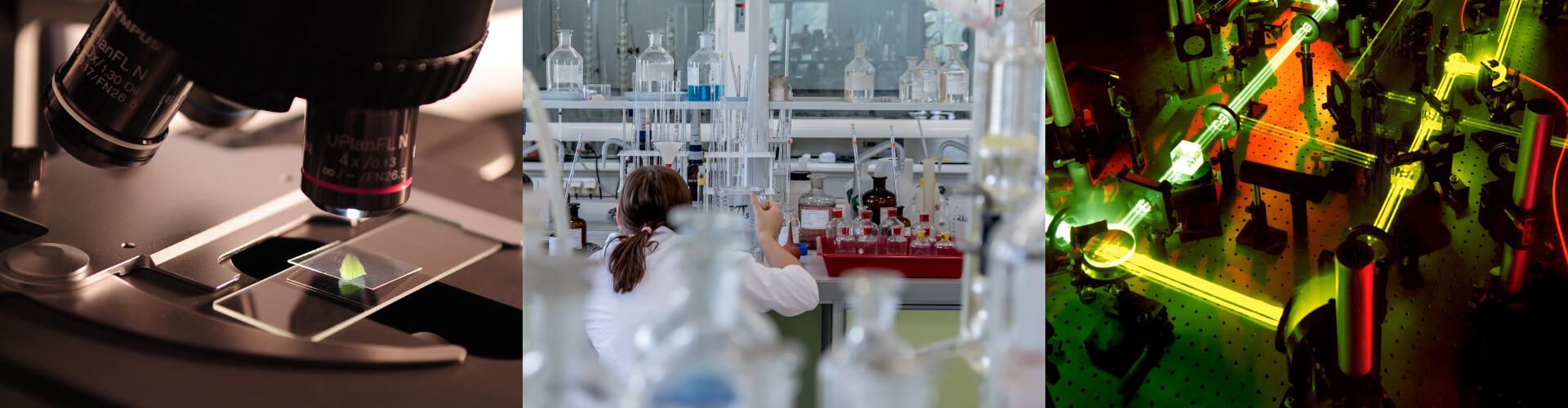 3 Bilder zeigen die wissenschaftlichen Bereiche Biologie, Chemie und Physik, für die eine wissenschaftliche Übersetzung infrage kommt